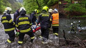 Záchrana zraněné osoby na Náchodsku.