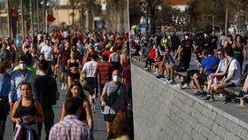 Španělé vyrazili na ven. Promenády v Barceloně se okamžitě zaplnily (2. 5. 2020)