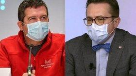 Mezi ministrem vnitra Janem Hamáčkem (ČSSD) a stomatologem Romanem Šmucler se rozhořela debata o tom, zda s nouzovým stavem skončí povinnost plošného nošení roušek.
