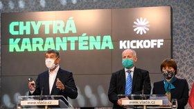 Premiér Andrej Babiš (vlevo) hovoří 7. května 2020 v Praze na tiskové konferenci k představení fungování projektu Chytré karantény. Vedle něj stojí náměstek ministra zdravotnictví Roman Prymula a hlavní hygienička Jarmila Rážová.