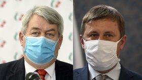 Šéf komunistů Vojtěch Filip (vlevo) a ministr zahraničí Tomáš Petříček (ČSSD) jsou ve sporu kvůli Rusku.