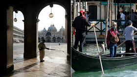 Benátky v době pandemie zejí prázdnotou, město obvykle žije z turistů.