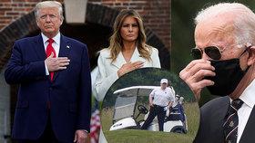 Trumpová na svátek vytáhla kabát za tisíce korun, prezident si užíval na golfu a Biden konečně opustil karanténu.