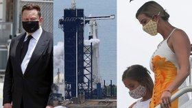 Start rakety Falcon 9 a lodi Crew Dragon: Ivanka Trumpová s dcerou Arabellou a Elon Musk (27. 5. 2020)