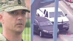 Voják David Royer přejel střelce na mostě a během chvíle ho tak zneškodnil.