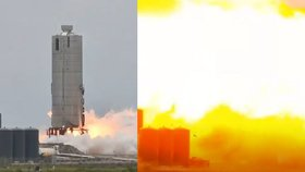 Prototyp nové rakety Starship společnosti SpaceX explodoval na testovací rampě v americkém státě Texas (29. 5. 2020)