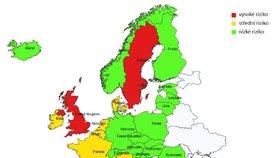 Cestování po Evropě: Semafor zemí podle Vlády ČR