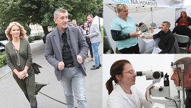 Andrej Babiš s manželkou Monikou během Dne zdraví ministerstva zdravotnictví, kde si nechal změřit tlak i oči. Nyní ho důkladně proklepli v Masarykově onkologickém ústavu