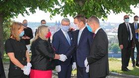 Přivítání slovenského premiéra Igora Matoviče na první oficiální návštěvě Česka. (3. 6. 2020)