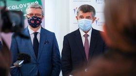 Andrej Babiš (ANO) při výjezdu do Karlovarského kraje: S vicepremiérem Karlem Havlíčkem (za ANO) (4.6.2020)