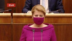 Slovenská prezidentka Zuzana Čaputová v projevu k poslancům (5. 6. 2020)
