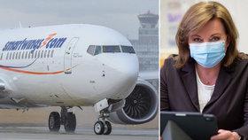 Ministryně financí Alena Schillerová nepodporuje státní záruku pro společnost Smartwings.