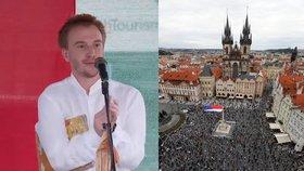 Protest Milionu chvilek pro demokracii proti vládě a Andreji Babišovi (ANO) v Praze a šéf spolku Mikuláš Minář (9. 6. 2020)