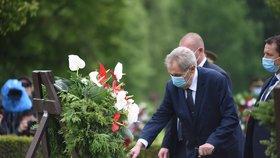 Prezident Miloš Zeman uctil památku mužů, žen i dětí ze starých Lidic. Spolu s dalšími ústavními činiteli se účastnil 75. výročí (10.6.2020).