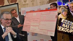 Miroslav Kalousek (TOP 09) se složenkou na 121 tisíc korun, kterou v roce 2010 rozeslal Čechům. Vpravo na protibabišovské demonstraci