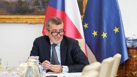 Andrej Babiš (ANO) během videokonference s premiéry a prezidenty zemí EU (19.6.2020)