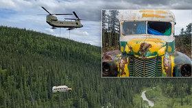 Magický autobus byl odstraněn pomocí vrtulníku