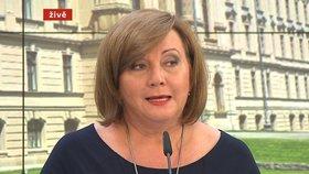 Vicepremiérka a ministryně financí Alena Schillerová (za ANO) na tiskové konferenci po jednání vlády (29. 6. 2020)