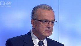 Miroslav Kalousek (TOP 09) v debatě s Karlem Havlíčkem (za ANO) v ČT řešil mj. schodek státního rozpočtu 500 miliard.