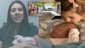 Susan porodila přímo na parkovišti před porodním centrem.