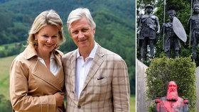 Belgický král Philippe (vlevo s manželkou Mathilde) se omluvil Kongu za příkoří z dob nadvlády Leopolda II. (vpravo na posprejované bustě).
