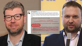 Europoslanec a exšéf TOP 09 Jiří Pospíšil, předseda KDU-ČSL Marian Jurečka a nepravdivá zpráva o OKD na twitteru (6. 7. 2020)