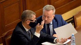 Schůze Sněmovny: Andrej Babiš a Richard Brabec (oba ANO; 23. 6. 2020)