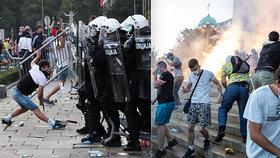 Protesty v Bělehradě.