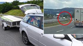 Nebezpečné předjíždění na dálnici D8.