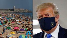 Plná pláž nedaleko Lisabonu v Portugalsku a prezident USA Donald Trump v roušce (11. 7. 2020)