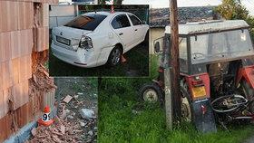 Opilý mladík vlezl do traktoru, pří jízdě zranil maminku s dítětem a poškodil osobní vůz i novostavbu.