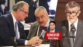 Zleva Miroslav Kalousek, Karel Schwarzenberg (oba TOP 09) a Andrej Babiš (ANO) v komentáři Petra Holce