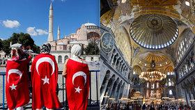 Chrám Hagia Sofia se po 85 letech bude měnit zpět na mešitu, při modlitbách budou zakrývány mozaiky i fresky.