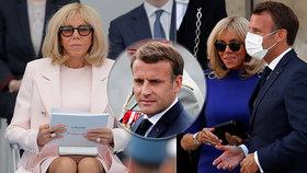 První dáma Francie na oslavách Dne Bastily bez roušky, prezident první den oslav měl, druhý den už ji odložil.