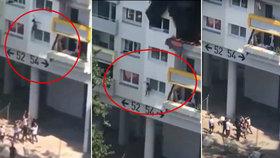 Šokující záběry: Děti ( 3 a 10) skočily z okna hořícího bytu do náruče zachránců!
