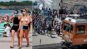 Roušky na plážích ve Francii i u turistů, kteří zamířili ve Švýcarsku na horu Matterhorn a čekali tu na vlak (5. 8. 2020)