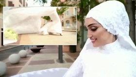 Nevěstu ve svatebních šatech zasáhl výbuch v Bejrútu: Myslela jsem, že zemřu, popsala.
