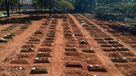 Hroby v Brazílii v době, kdy se země blížila počtu tří milionů nakažených. (6. 8. 2020)