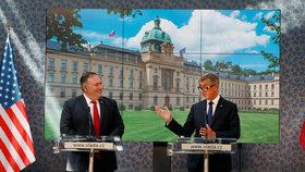Americký ministr zahraničí Mike Pompeo a premiér Andrej Babiš (ANO) na tiskové konferenci ve Strakově akademii (12.8.2020)
