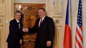 Předseda Senátu Miloš Vystrčil a předseda výboru pro zahraniční věci, obranu a bezpečnost Pavel Fischer jednali 12. srpna 2020 v Praze s americkým ministrem zahraničí Mikem Pompeem.