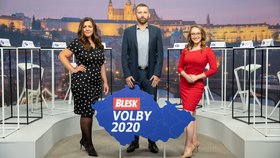 Krajské debaty Blesku 2020: Tým moderátorů - zleva Vera Renovica, Jaroslav Šimáček, Sabina Dračková (7. 9. 2020)