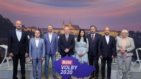 Krajské volby 2020: Zleva Josef Bernard (za STAN), Zdeněk Štefek (KSČM), Jakub Unucka (ODS), Ladislav Okleštěk (ANO), Zuzana Klusová (Piráti), Lukáš Curylo (KDU-ČSL), Michal Kučera (TOP 09), Olga Sehnalová (ČSSD)