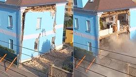 V Liberci se zřítila část domu. Statik nařídil demolici.