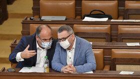 Sněmovna opět v rouškách: Jan Birke a Lubomír Zaorálek z ČSSD (15.9.2020)