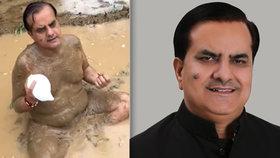 Indický poslanec Sukhbir Singh Džaunapuria přišel s bizarní ochranou proti koronaviru, pak se sám nakazil.