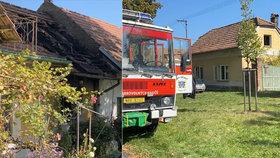 Požár v obci Křinec.