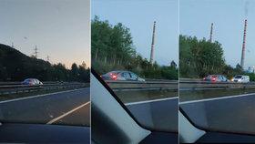 Auto v protisměru na dálnici D8.