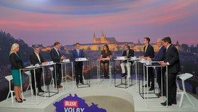 Krajská debata Blesk Zpráv o bydlení (22. 9. 2020): Zleva Petra Pecková (STAN), Ludvík Šulda (KSČM), Martin Kupka (ODS), Radim Holiš (ANO), moderátorka Vera Renovica, Karel Karika (Piráti), František Talíř (KDU-ČSL), Jan Vitula (TOP 09) a Marek Šlapal (ČSSD)