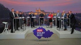 Krajská debata Blesk Zpráv o zemědělství a průmyslu (24. 9. 2020): Zleva Radim Sršeň (STAN), Václav Snopek(KSČM), Karel Bendl (ODS), Josef Kott (ANO), moderátor Jaroslav Šimáček, Hana Hajnová (Piráti), Petr Šilar (KDU-ČSL), Herbert Pavera (TOP 09), Jiří Struček (ČSSD)