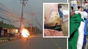 Učitel a žák zažili nejhorší cestu z vyučování svého života. Spadl na ně drát vysokého napětí a poslal je popálené do nemocnice.
